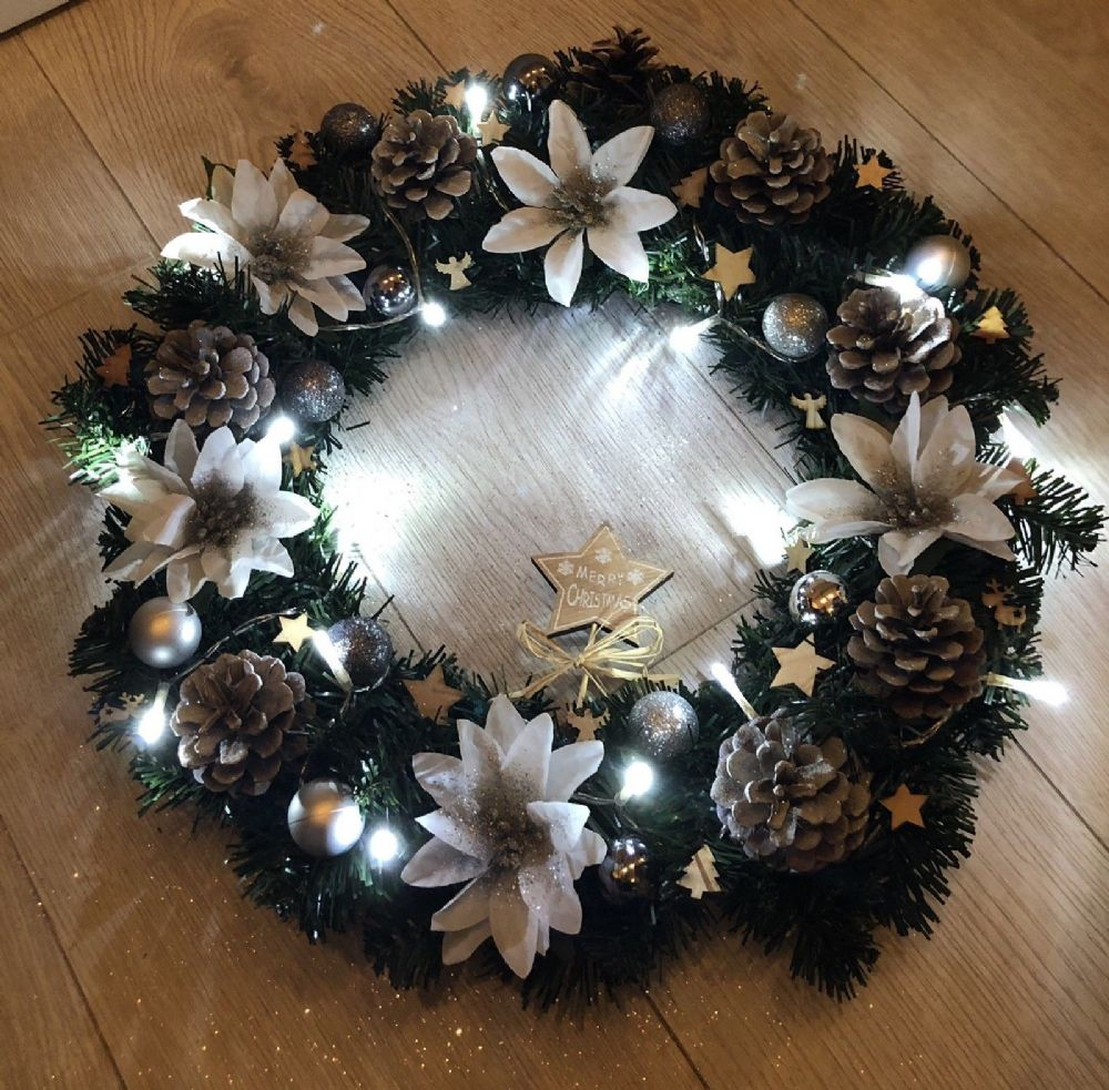 Silver White Christmas Wreath Fairy Lights Front Door Wall